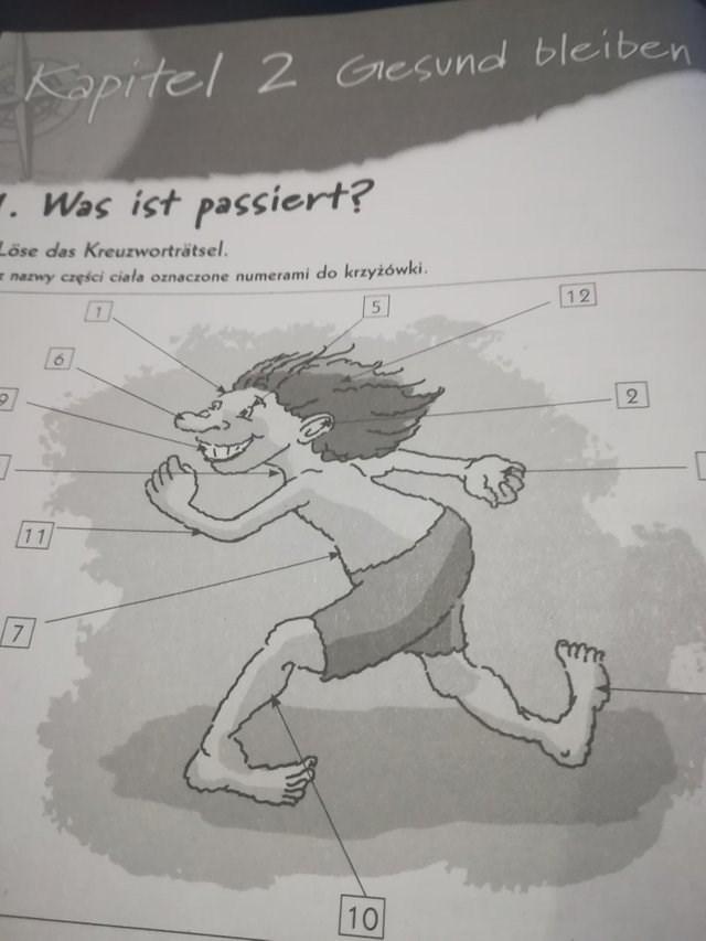 Cartoon - Kapitel 2 Gesund bleiben Was ist passiert? Löse das Kreuzworträtsel. nazwy cręści ciała oznaczone numerami do krzyżówki. 12 2 11 7 10