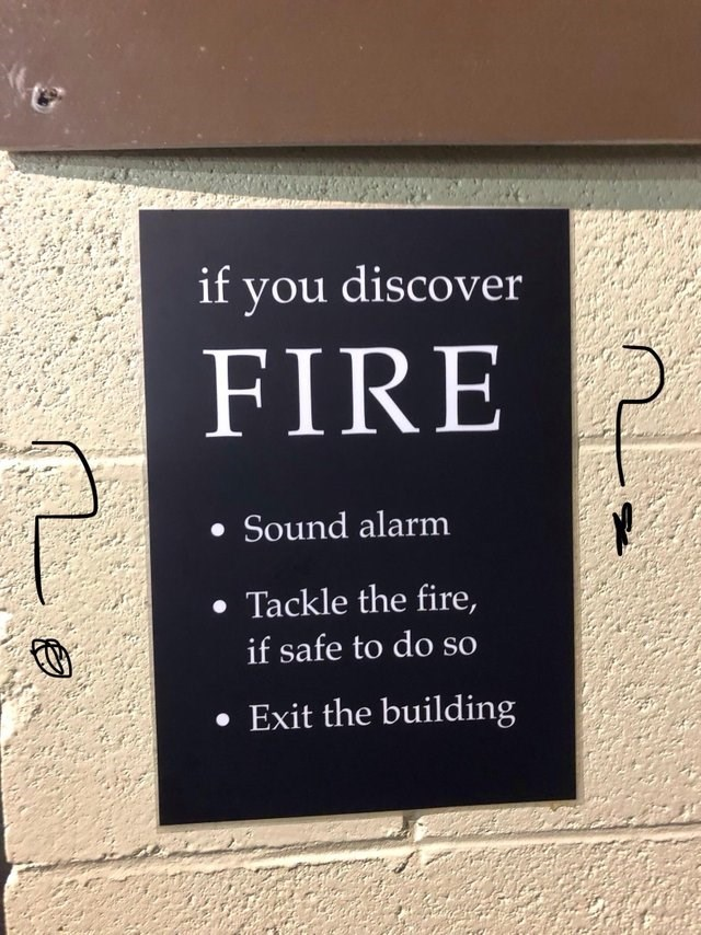 Text - if you discover FIRE Sound alarm Tackle the fire if safe to do so Exit the building