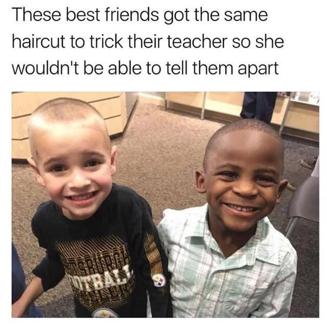 Face - These best friends got the same haircut to trick their teacher so she wouldn't be able to tell them apart OTBAL