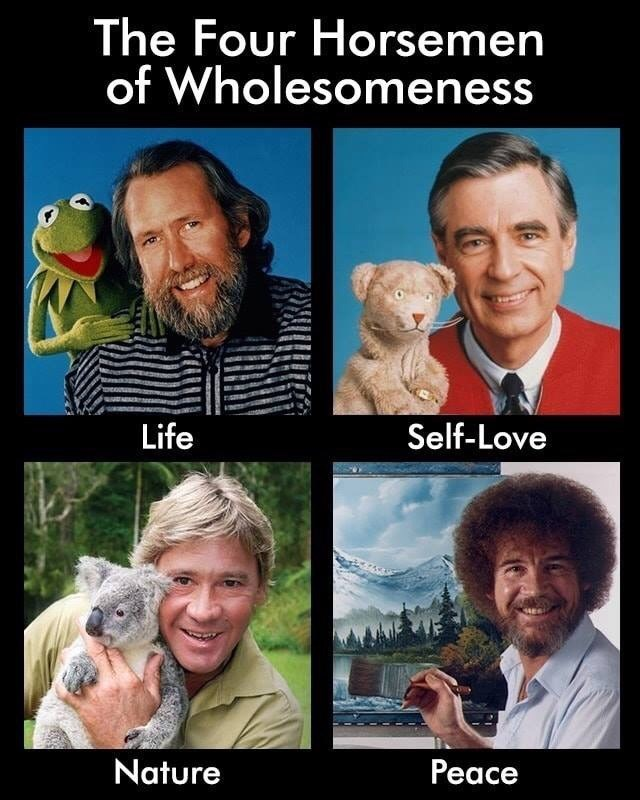 Facial expression - The Four Horsemen of Wholesomeness Life Self-Love Nature Рeace