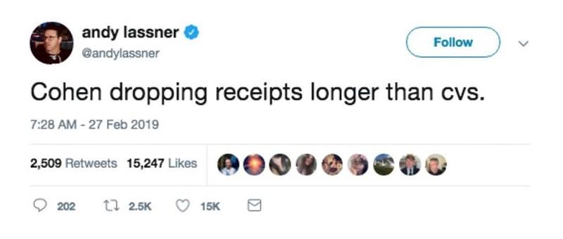 Text - andy lassner Follow @andylassner Cohen dropping receipts longer than cvs. 7:28 AM -27 Feb 2019 2,509 Retweets 15,247 Likes ti 2.5K 202 15K