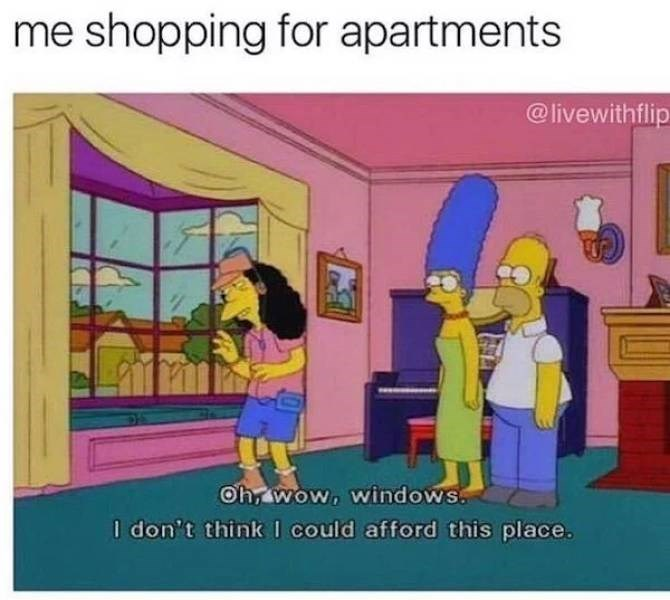 meme - Cartoon - me shopping for apartments @livewithflip Oh, wow, windows. I don't think I could afford this place