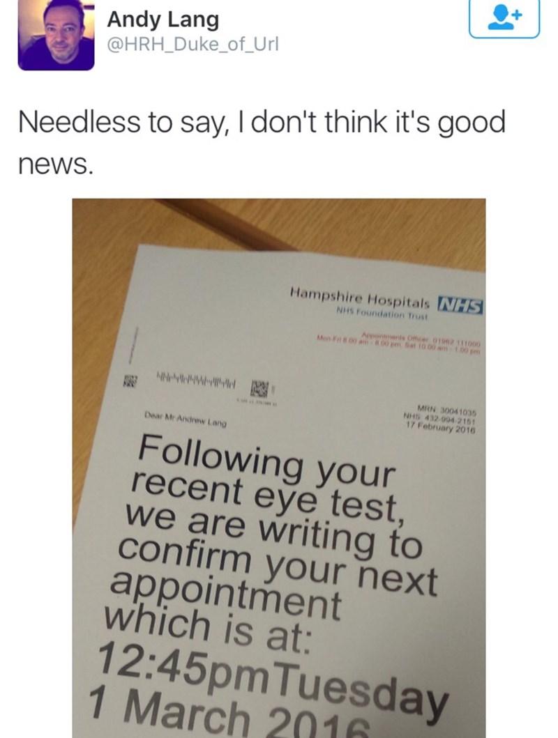 Funny meme about eyesight.