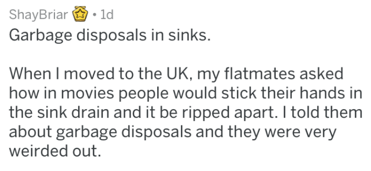 Text - ShayBriar 1d Garbage disposals in sinks. When I moved to the UK, my flatmates asked how in movies people would stick their hands in the sink drain and it be ripped apart. I told them about garbage disposals and they were very weirded out.