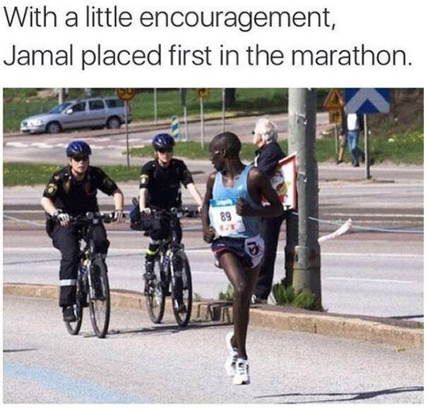 Endurance sports - With a little encouragement, Jamal placed first in the marathon. 89