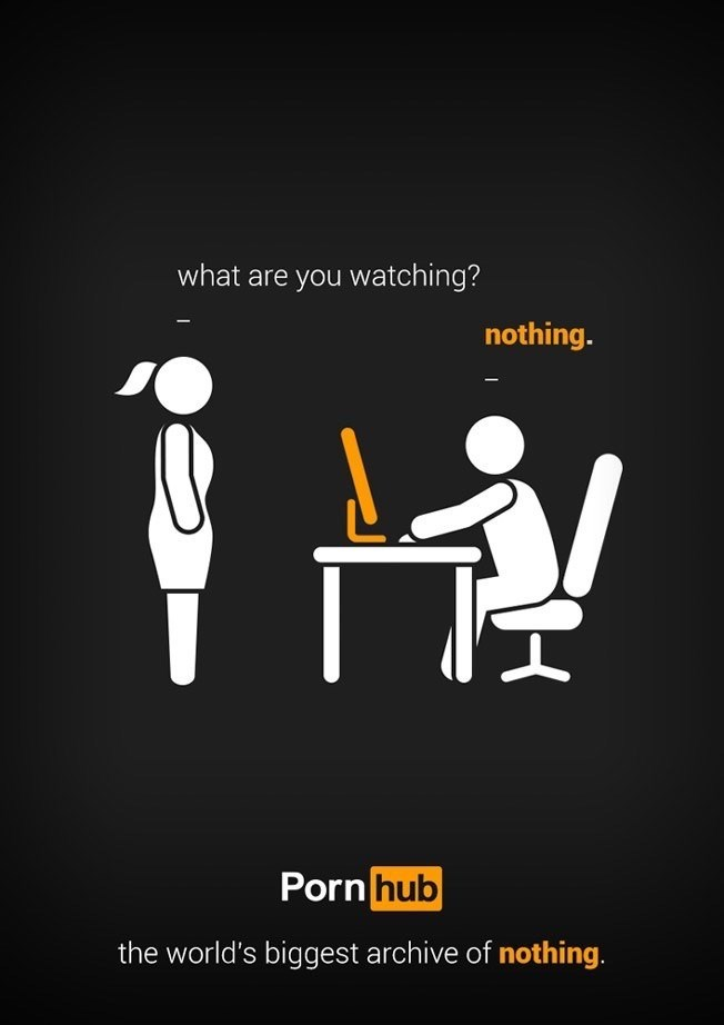 Cartoon - what are you watching? nothing. Porn hub the world's biggest archive of nothing.