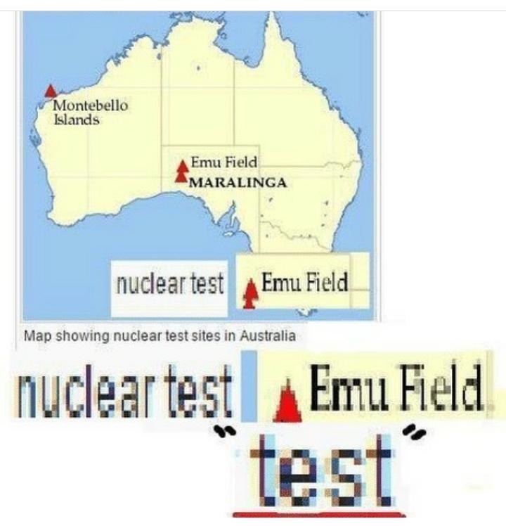 meme - Text - Montebello Islands Emu Field MARALINGA Emu Field nuclear test Map showing nuclear test sites in Australia nuclear test Emu Field. test