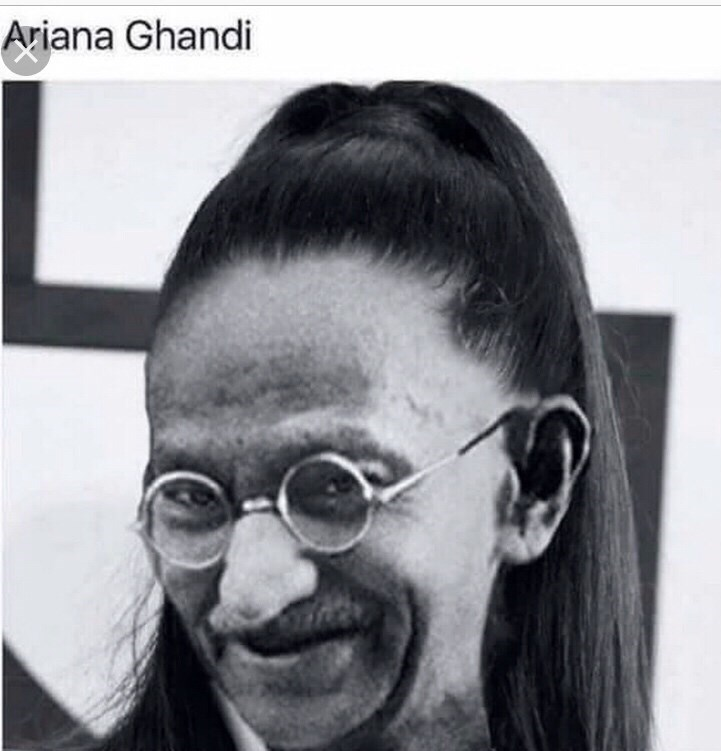 """Caption that reads, """"Ariana Ghandi"""" above a pic of Ghandi's face photoshopped onto Ariana Grande's face"""