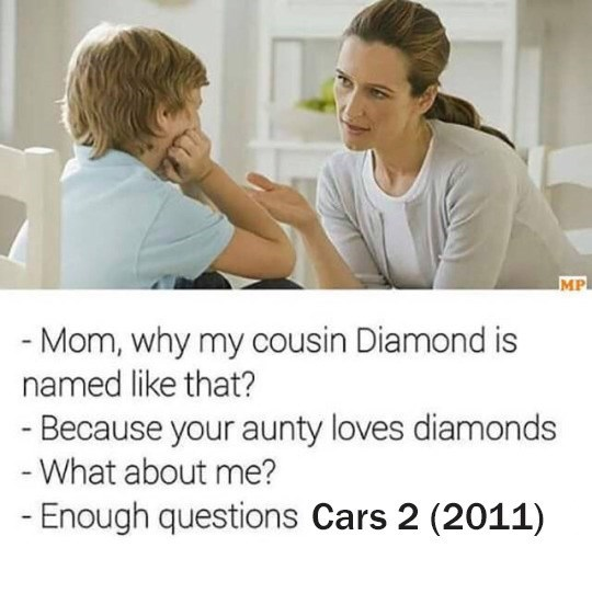 Funny meme about Cars II.