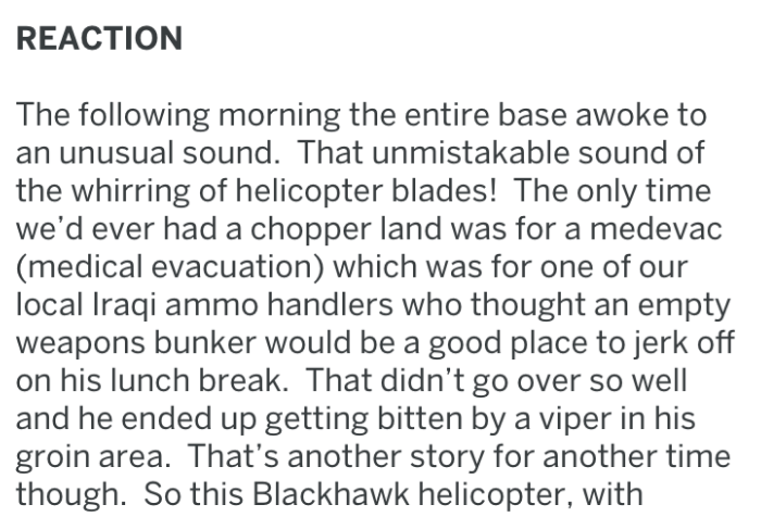 Text - REACTION The following morning the entire base awoke to an unusual sound. That unmistakable sound of the whirring of helicopter blades! The only time we'd ever had a chopper land was for a medevac (medical evacuation) which was for one of our local Iraqi ammo handlers who thought an empty weapons bunker would be a good place to jerk off on his lunch break. That didn't go over so well and he ended up getting bitten by a viper in his groin area. That's another story for another time though.