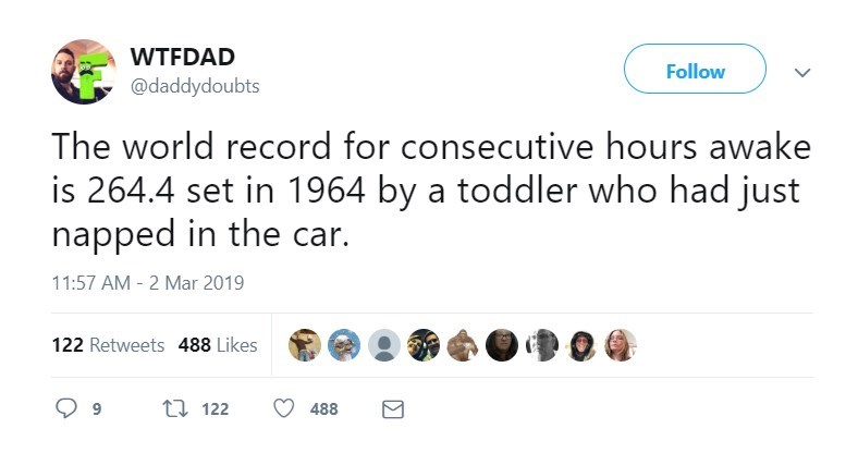 Text - WTFDAD Follow @daddydoubts The world record for consecutive hours awake is 264.4 set in 1964 by a toddler who had just napped in the car. 11:57 AM 2 Mar 2019 122 Retweets 488 Likes ti 122 488