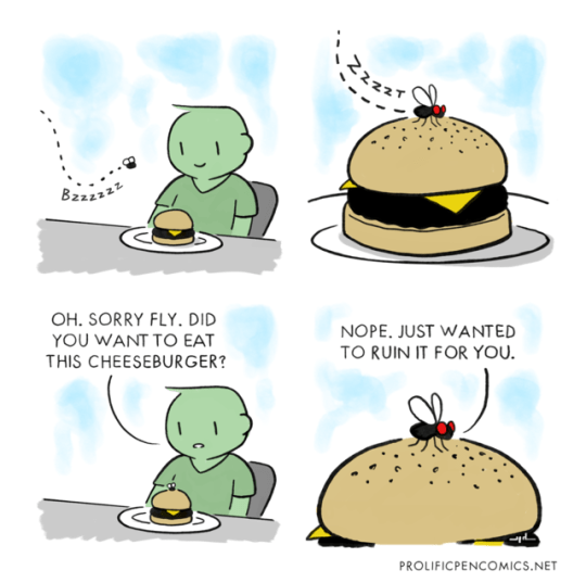 animal comics - Clip art - Bzz OH. SORRY FLY. DID YOU WANT TO EAT THIS CHEESEBURGER? NOPE. JUST WANTED TO RUIN IT FOR YOU PROLIFICPENCOMICS.NET