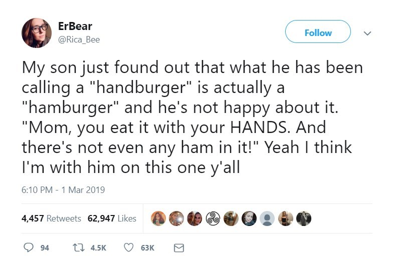 "Text - ErBear Follow @Rica Bee My son just found out that what he has been calling a ""handburger"" is actually ""hamburger"" and he's not happy about it. ""Mom, you eat it with your HANDS. And there's not even any ham in it!"" Yeah I think I'm with him on this one y'all 6:10 PM 1 Mar 2019 4,457 Retweets 62,947 Likes t 4.5K 94 63К Σ"