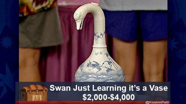Photo caption - Swan Just Learning it's a Vase $2,000-$4,000 @KeatonPatti