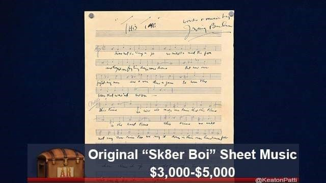 "Text - 6 Original ""Sk8er Boi"" Sheet Music $3,000-$5,000 AR KeatonPatti"