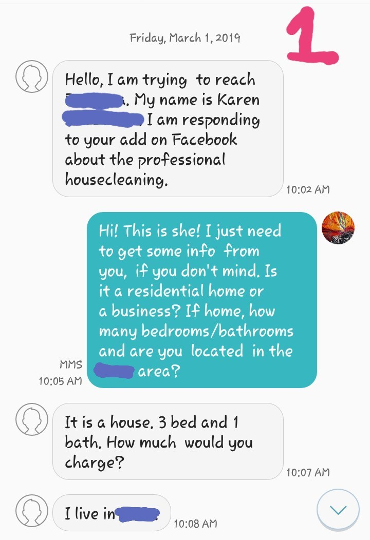 Text message from a woman named Karen inquiring about prices for a housecleaning