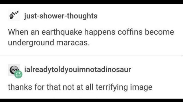 dumb but true - Text - just-shower-thoughts When an earthquake happens coffins become underground maracas. ialreadytoldyouimnotadinosaur thanks for that not at all terrifying image