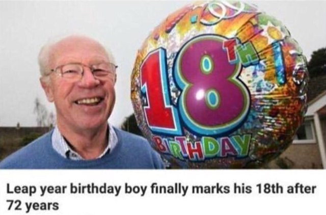 dumb but true - Community - 13 THDAY Leap year birthday boy finally marks his 18th after 72 years