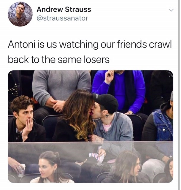 Text - Andrew Strauss @straussanator Antoni is us watching our friends crawl back to the same losers