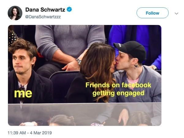 Product - Dana Schwartz Follow @DanaSchwartzzz Friends on facebook getting engaged me 11:39 AM 4 Mar 2019