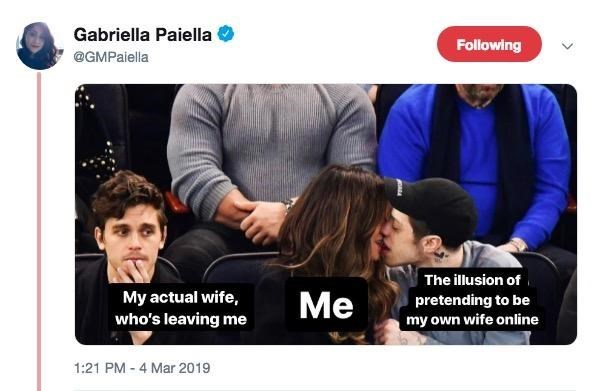 Product - Gabriella Paiella Following @GMPaiella The illusion of My actual wife, who's leaving me Ме pretending to be my own wife online 1:21 PM - 4 Mar 2019
