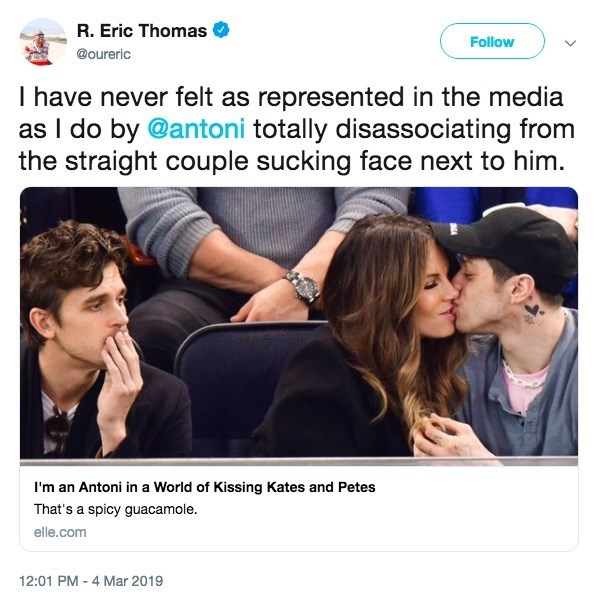 Product - R. Eric Thomas Follow @oureric I have never felt as represented in the media as I do by @antoni totally disassociating from the straight couple sucking face next to him. I'm an Antoni in a World of Kissing Kates and Petes That's a spicy guacamole. elle.com 12:01 PM 4 Mar 2019