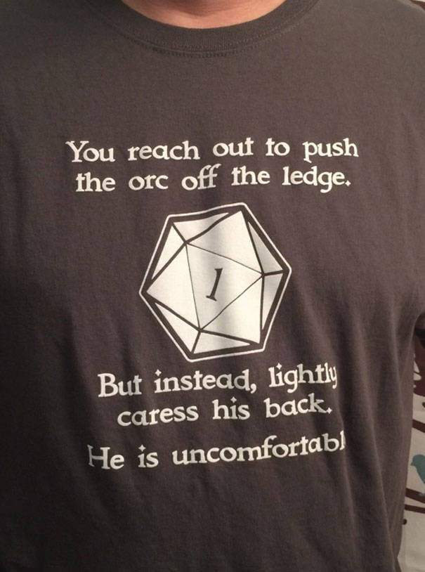T-shirt - You reach out to push the orc off the ledge. 1 But instead, lightly caress his back. He is uncomfortabl
