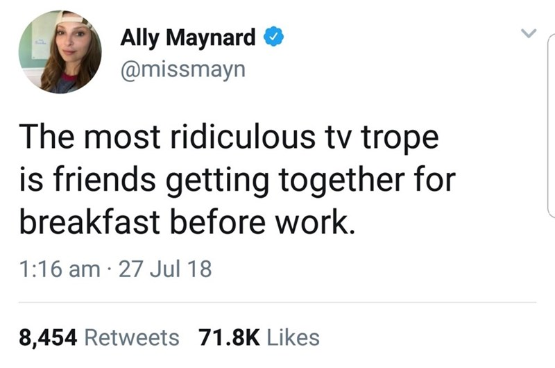 Funny meme, funny memes, funny tweet, tv tropes, people getting together for breakfast, television.