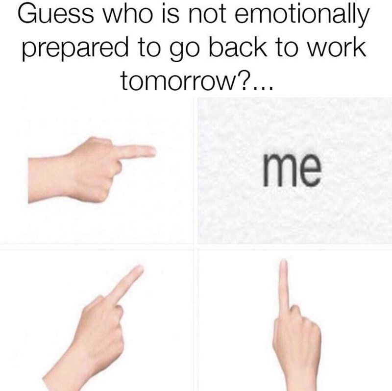Finger - Guess who is not emotionally prepared to go back to work tomorrow?... me