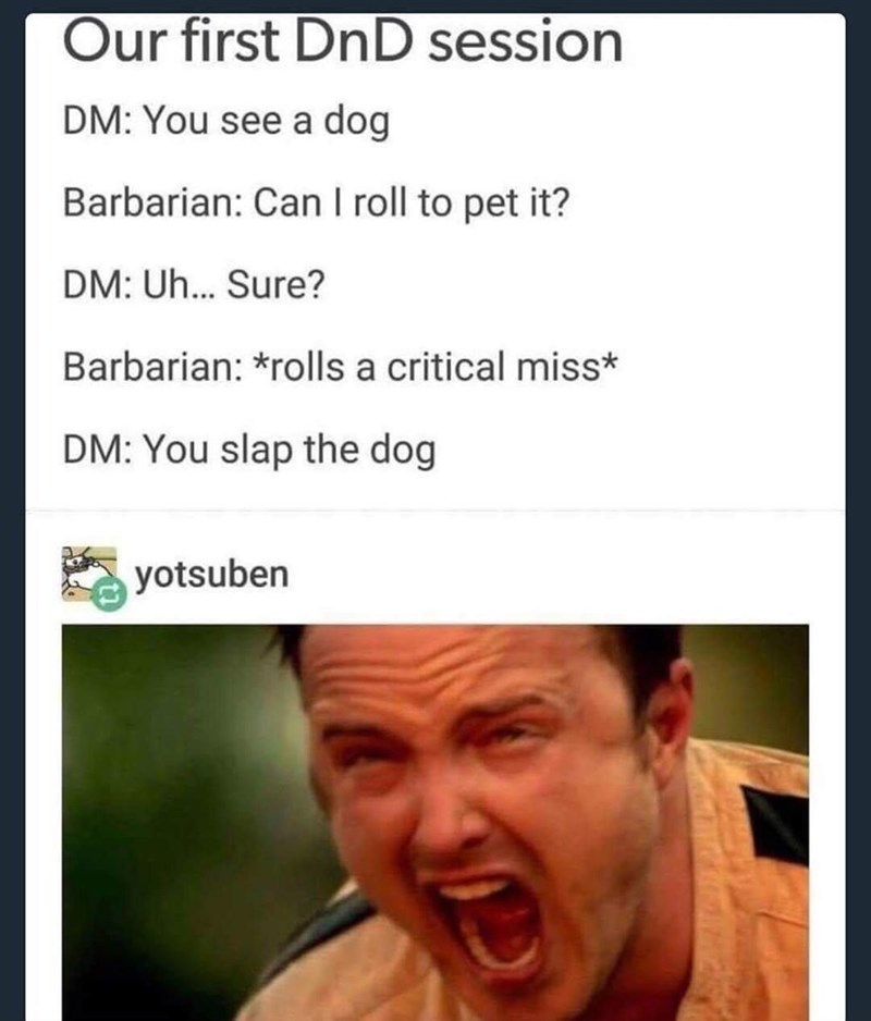 Face - Our first DnD session DM: You see a dog Barbarian: Can I roll to pet it? DM: Uh... Sure? Barbarian: *rolls a critical miss* DM: You slap the dog yotsuben