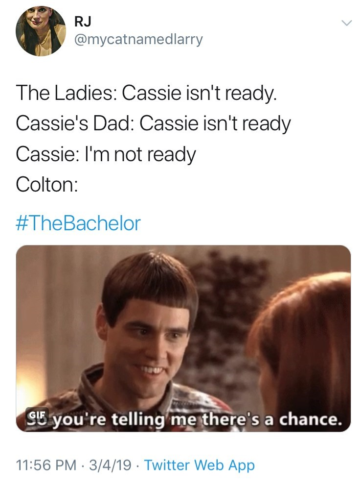 Text - RJ @mycatnamedlarry The Ladies: Cassie isn't ready Cassie's Dad: Cassie isn't ready Cassie: I'm not ready Colton: #TheBachelor SB you're telling me there's a chance. 11:56 PM 3/4/19 Twitter Web App