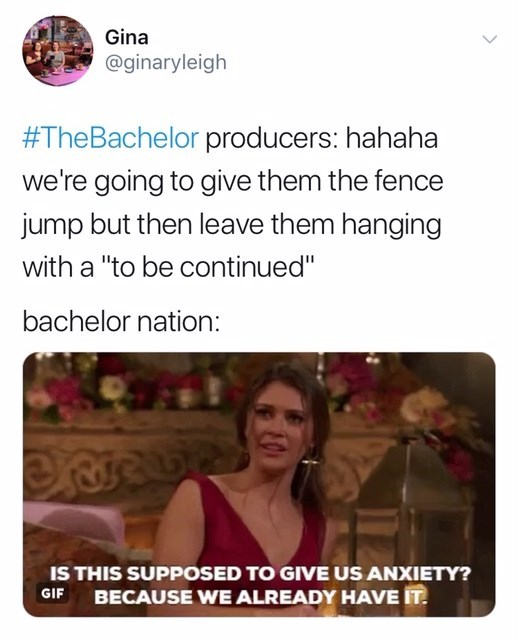 """Text - Gina @ginaryleigh #TheBachelor producers: hahaha we're going to give them the fence jump but then leave them hanging with a """"to be continued"""" bachelor nation: IS THIS SUPPOSED TO GIVE US ANXIETY? BECAUSE WE ALREADY HAVE IT GIF"""