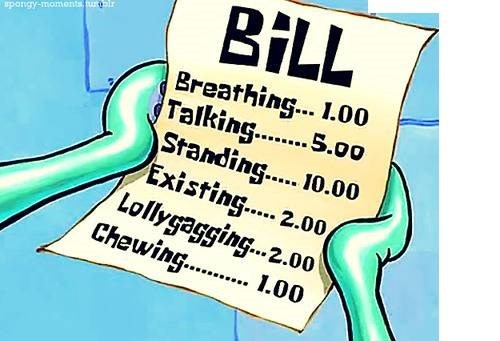 """healthcare meme with bill from Spongebob that lists mundane actions like """"breathing"""" and """"talking"""" for certain prices"""