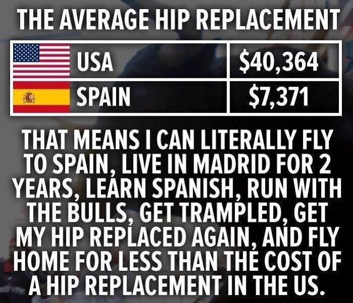healthcare meme about what you can do with the money for a hip replacement
