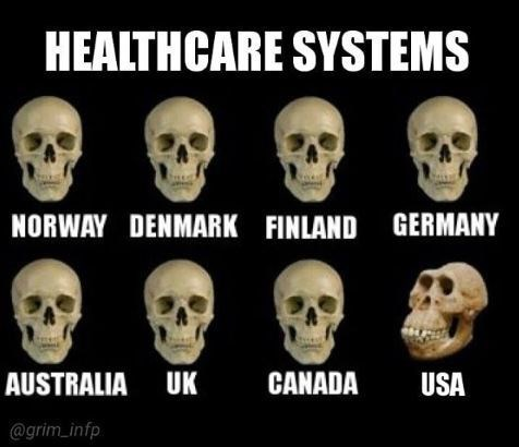 health insurance meme about healthcare in the rest of the world vs in the us