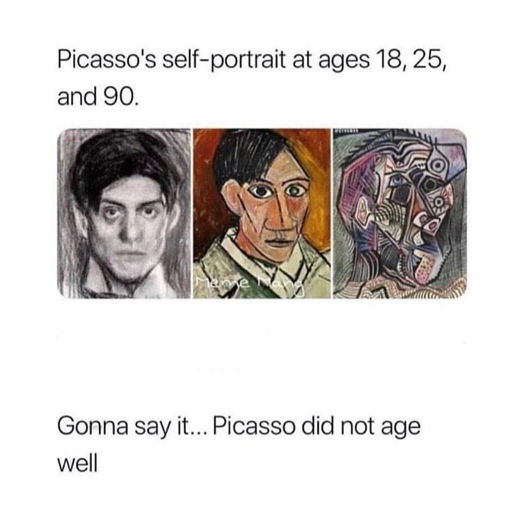 funny meme about pablo picasso, art meme.
