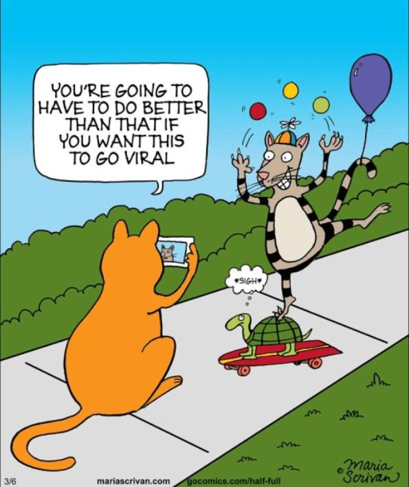 Cartoon - YOU'RE GOING TO HAVE TO DO BETTER THAN THATIF YOU WANT THIS TO GO VIRAL SIGH maria Serivan gocomics.com/half-full 3/6 mariascrivan.com