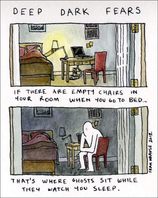 Text - FEARS DEEP DARK IF THERE ARE EMPT1 CHAIRS 4ouR Room WHEN ou 60 To BED.. THAT'S W HERE GHOSTS SIT WHILE WATCH ou SLEEP THEY FRAN KRAVSE 2o12