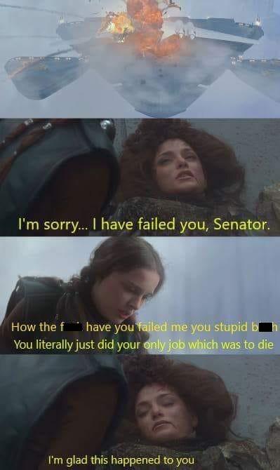 amusing meme with star wars scene of queen amidala's handmaid dying