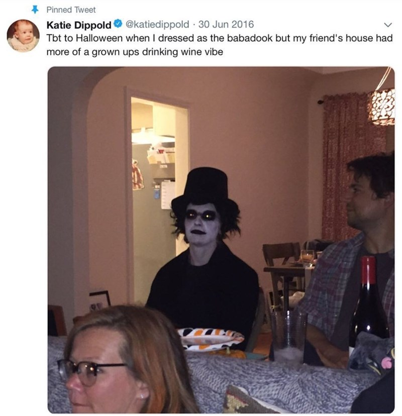 amusing meme of a guy being the only one dressed up for a Halloween part