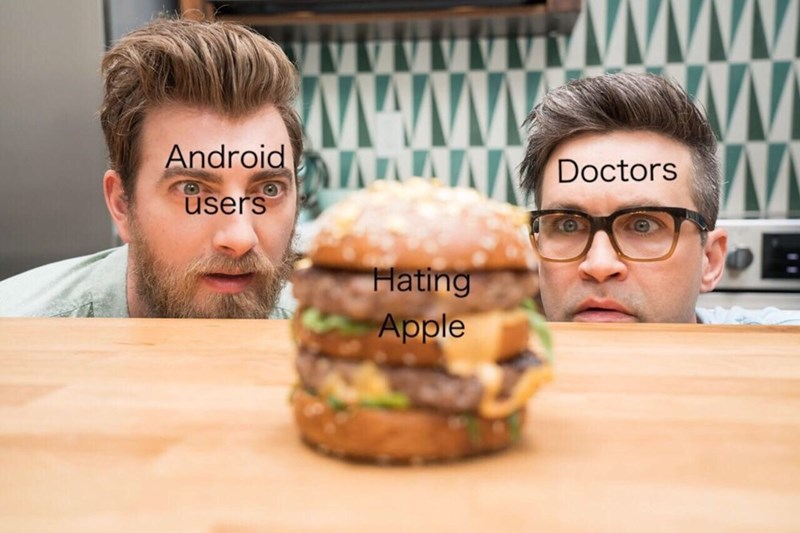 amusing meme about people who hate Apple with Rhett and Link looking at chicken sandwich