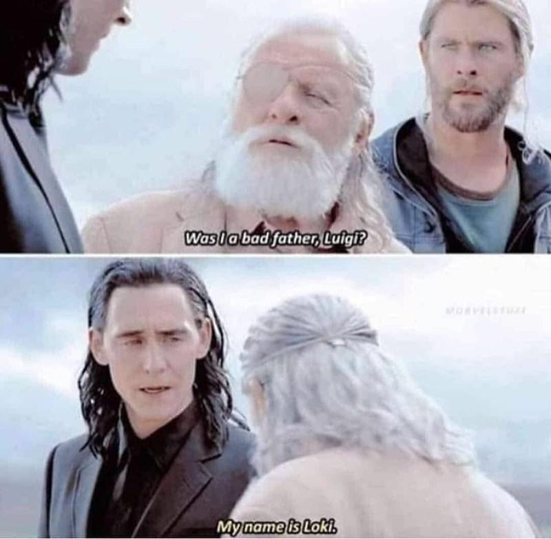 amusing meme of Odin getting his son Loki's name wrong