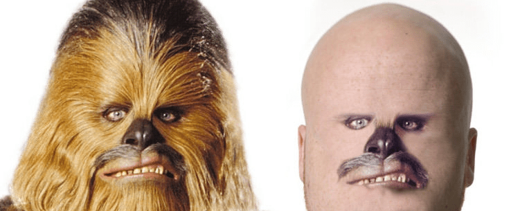 amusing meme about a shaved Chewbacca