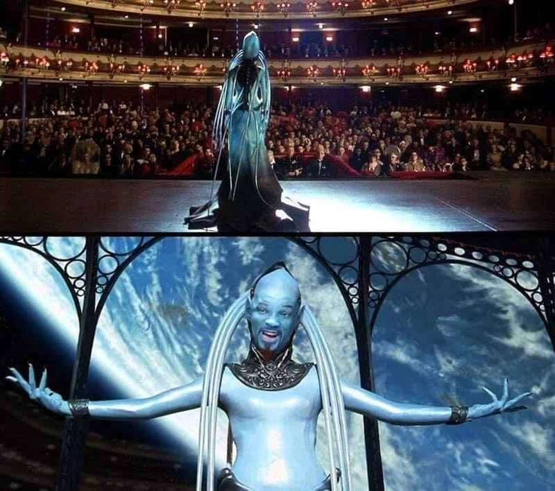 amusing meme of the fifth element opera scene with blue Will Smith as the diva