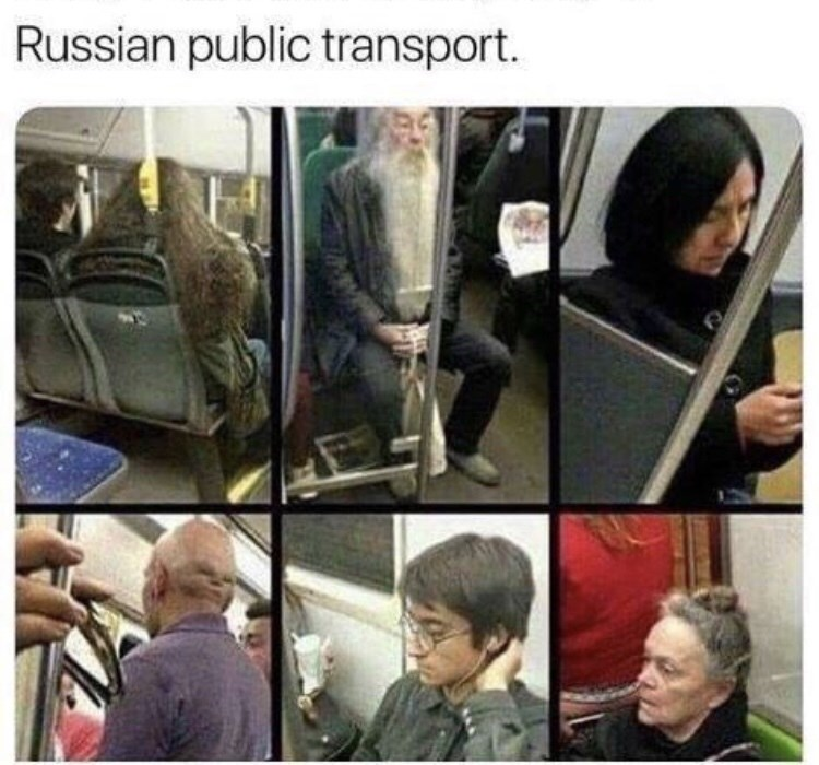 amusing meme of people who look like Harry Potter characters on Russian public transport