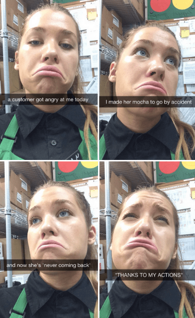 """girl doing funny selfie faces at work- today a customer got angry at me I made her mocha to go by accident and now she's 'never coming back"""" THANKS TO MY ACTIONS"""