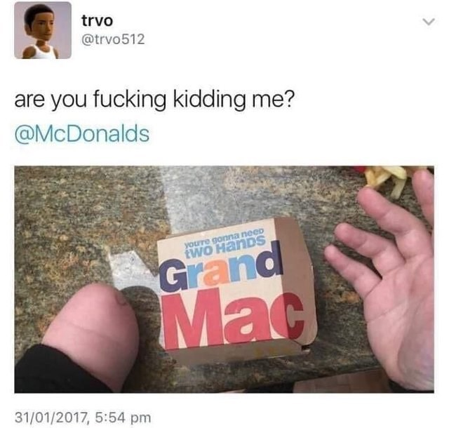 Text - trvo @trvo512 are you fucking kidding me? @McDonalds yourre gonna neep tWO HanDS Grand Mac 31/01/2017, 5:54 pm