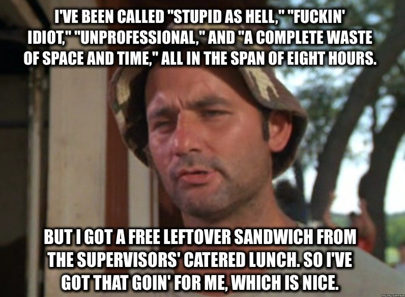 """Photo caption - I'VE BEEN CALLED """"STUPID AS HELL,"""" """"FUCKIN' IDIOT,"""" """"UNPROFESSIONAL,"""" AND """"A COMPLETE WASTE OF SPACE AND TIME,"""" ALL IN THE SPAN OF EIGHT HOURS. BUTIGOT A FREE LEFTOVER SANDWICH FROM THE SUPERVISORS' CATERED LUNCH.SO IVE GOT THAT GOIN FOR ME, WHICH IS NICE MAMASAETAID"""