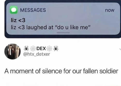 """Text - MESSAGES now liz <3 liz <3 laughed at """"do u like me"""" DEX @htx_detxer A moment of silence for our fallen soldier"""