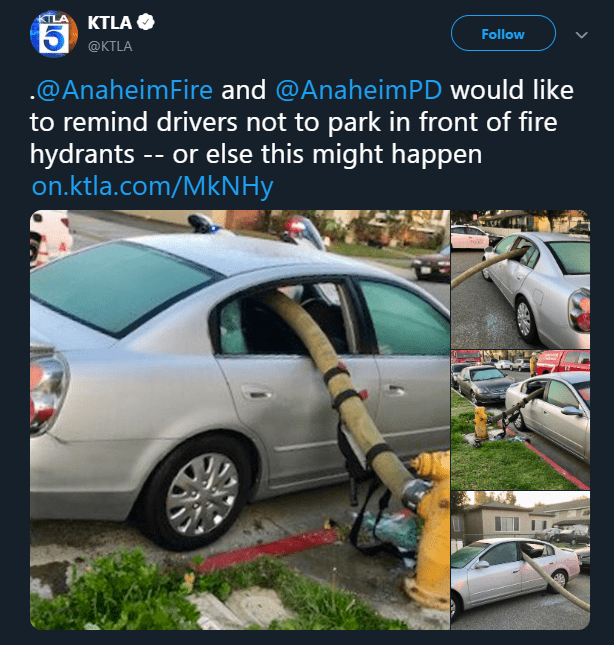 Vehicle door - KTLA Follow @KTLA @AnaheimFire and @AnaheimPD would like to remind drivers not to park in front of fire hydrants -- or else this might happen on.ktla.com/MkNHy